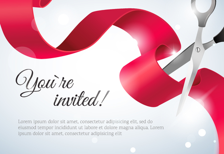 You are invited invitation card with curving ribbon and sparkling bokeh background. Grand opening concept.