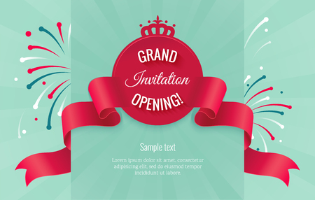 Grand opening horizontal banner. Text with  firework and curving ribbon. Flat style. Illustration