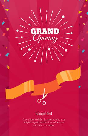 Grand opening vertical banner. Text with  firework, confetti and ribbon. Flat style. Ilustrace