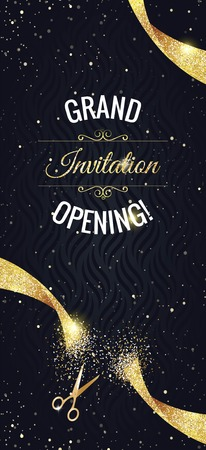 Grand opening vertical banner. Text with  confetti, golden splashes  and ribbons.Gold sparkles.