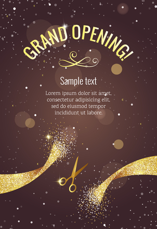 Grand opening vertical banner. Text with  confetti, golden splashes  and ribbons.Gold sparkles.  Elegant style.