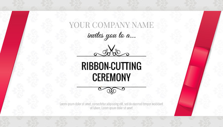 Grand opening invitation card with bows. Elegant style. Illustration