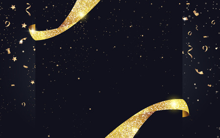 black: Festive sparkling background with ribbons, gold sparkles and confetti.