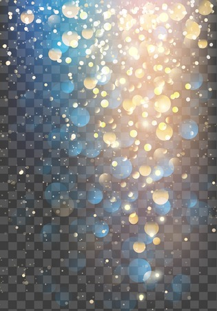 gold textured background: Abstract glitter background. Vector gold glitter particles and lights on transparent background. Sparkling texture.