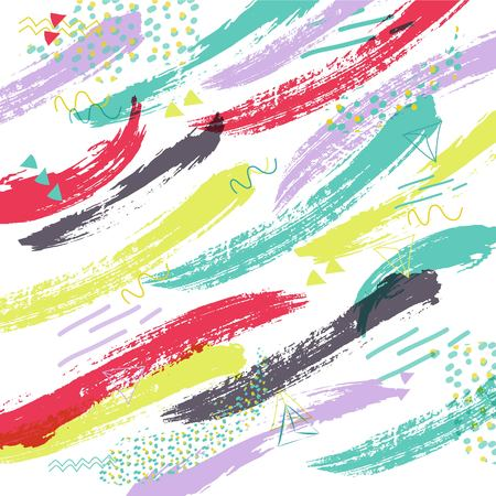 smudge: Abstract creative universal background with brush strokes. Hand Drawn textures. Vector background in retro 80s, 90s memphis style. Vector illustration Illustration