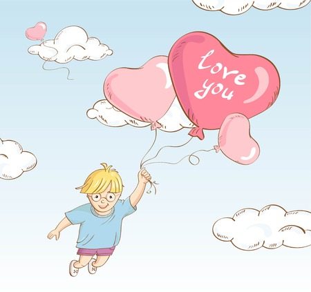 Hand drawn style cute boy flying whit heart-shaped balloons.