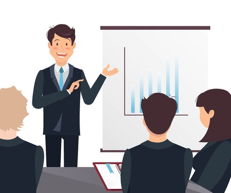 Young cheerful businessman delivering a presentation to his colleagues in office. Vector illustration