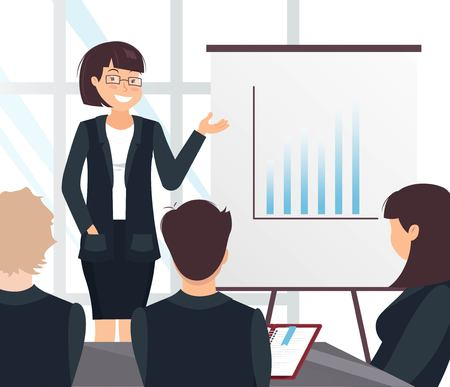 Young cheerful business woman delivering a presentation to her colleagues in office. Vector illustration