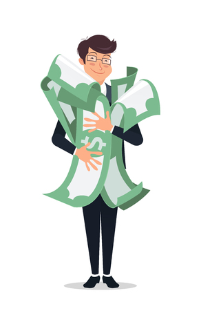 Happy man embracing pack of green moneydollars with both hand and smiling. Success and win in a lottery concept