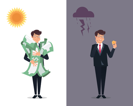 Happy and disappointed businessmen holding money. Success and failure concept. Successful and unsuccessful business models concept.Vector illustration