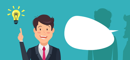 Businessman overhears a conversation, stand with lightbulb over his head while his colleagues talking in background. Businessman is stealing idea. Happy artful cartoon character. Illustration