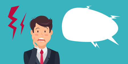 Cartoon shocked and surprised  businessman standing with wide open mouth and speech bubble. Emotion expression, wow, omg, surprise concept