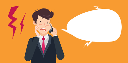 Vector illustration of a surprised businessman talking on the phone. Flat style.