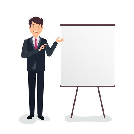 Full length portrait of a handsome businessman making presentation on flipchart over white background. Vector flat illustration of business plan.