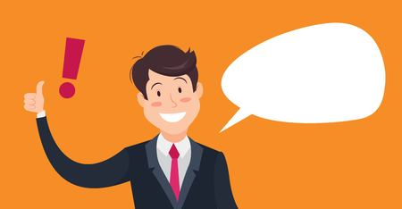 okey: Smiling businessman with exclamation mark and speech bubble. Cartoon vector illustration of  winking businessman showing thumbs up