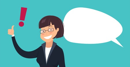 okey: Smiling woman with exclamation mark and speech bubble. Cartoon vector illustration of  winking businesswoman showing thumbs up