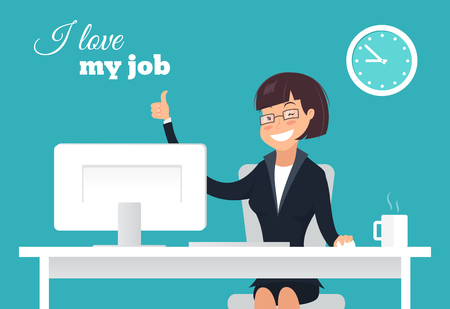 Vector flat character design on business woman working in office behind her desk with thumb up sign and smiling. I love my job concept.