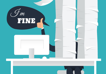 I am fine. Overworked office man at his desk doing thumb up sign and speaking I am fine. Paperwork concept. Daily routine. A lot of works.