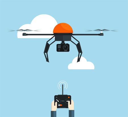 Drone aérien à distance avec une caméra et une console dans les mains. illustration vectorielle plane Banque d'images - 83962586