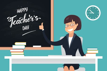 school class: Happy Teachers Day. A kind teacher sitting at her desk and showing thumb up. Vector illustration