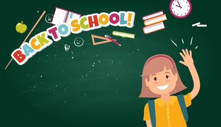 Back To School Colorful poster With Flat Icon Set and Pupil on Chalkboard Textured Background. Vector illustration