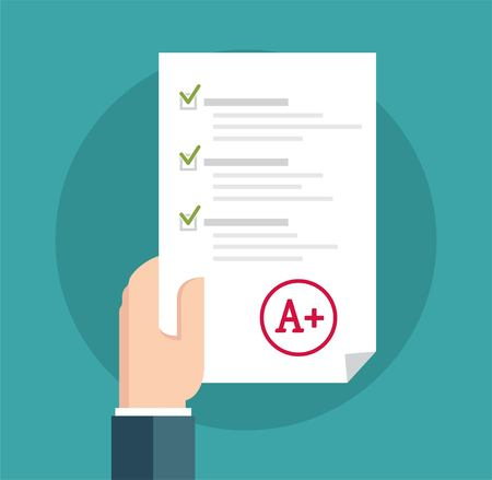 checklist: Student in Suit Holding Examination Quiz Paper Form. A paper with the top university grade.  Vector flat illustration Illustration