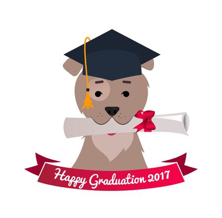 Dog in graduation cap holding diploma with mouth. Celebration graduation funny background. Vector flat illustration
