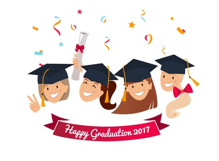 Celebration graduation banner. Group of happy graduates with diplomas celebrating graduation, smiling. Vector illustration