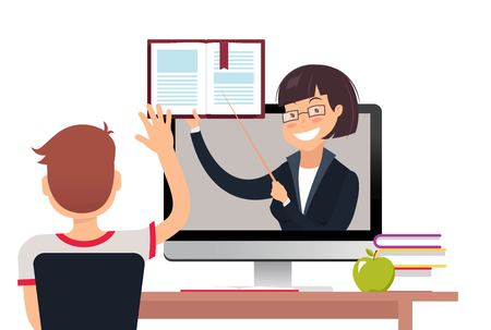 Vector illustration of teacher with book on computer screen. Online education concept.