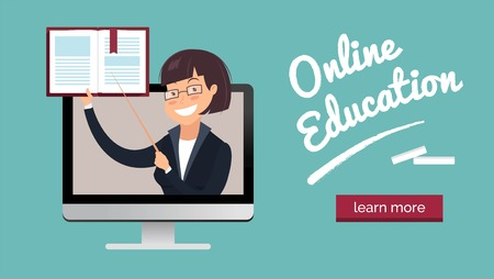 Vector illustration of teacher with book on laptop screen. Online education concept. Illustration