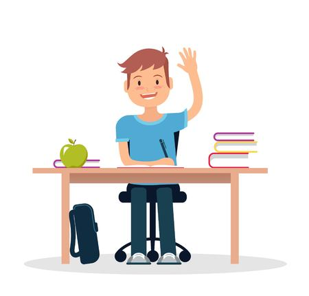 Schoolboy in classroom sitting at his desk and learning. Elementary school pupil raising hand. Vector illustration. Illustration
