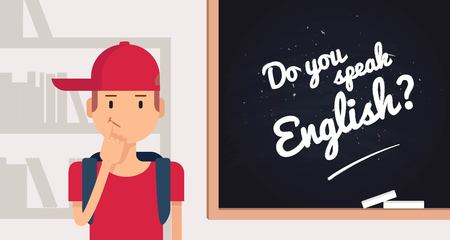 Do you speak english concept. Cute cartoon boy standing near the blackboard.  Vector illustration
