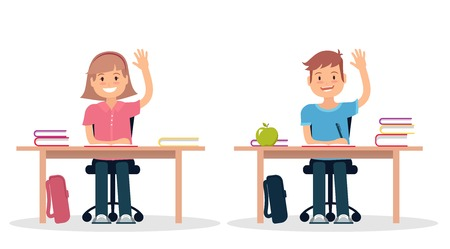 School children in classroom sitting at their desks and learning. Elementary school pupil raising hand. Vector illustration.