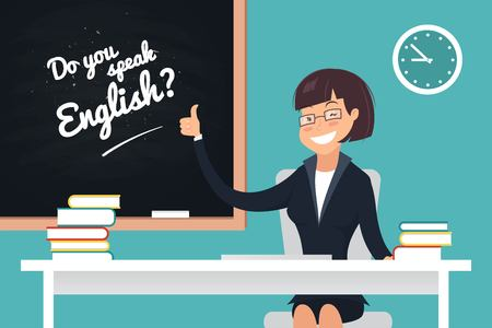 Do you speak english concept. A kind teacher sitting at her desk and showing thumb up. Vector illustration 矢量图像