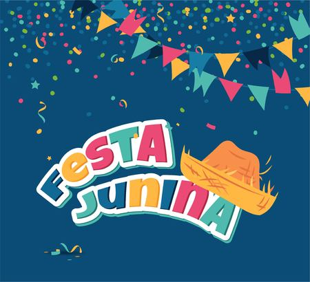 Festa junina party greeting illustration.