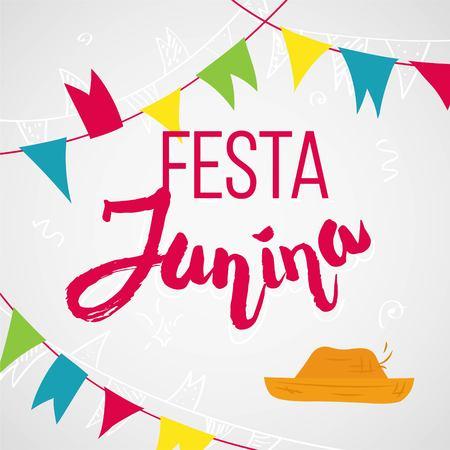 thatched: Festa junina party greeting illustration.