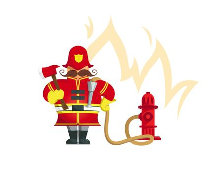 Fireman standing with fire ax - Vector Illustration. Illustration