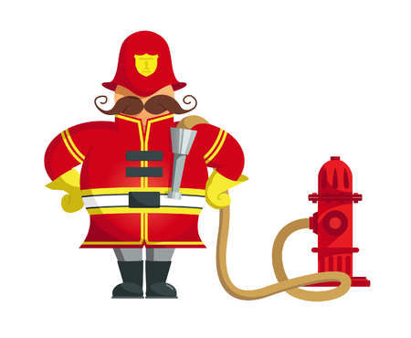 Vector Illustration of a firefighter standing with his arms akimbo.