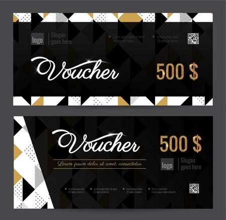 Black And White Gift Voucher Coupon Discount Set Of Elegant