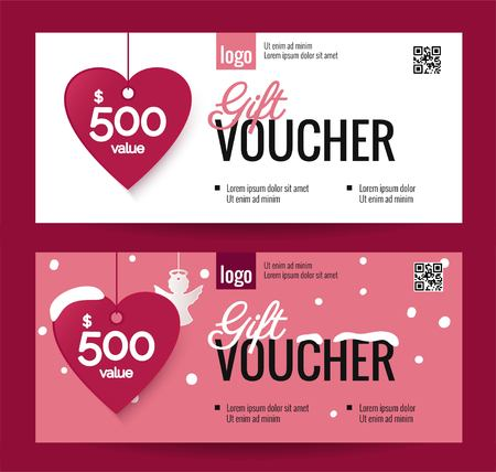 Gift Voucher Coupon discount for Happy Valentines Day celebration with holiday symbols. Vector illustration