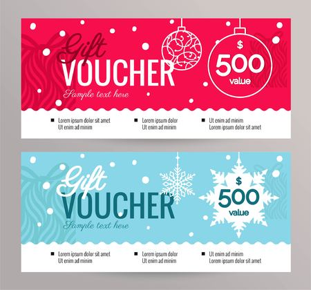 Christmas Gift Voucher Coupon discount. Gift certificate template for Merry Christmas. Vector flat illustration