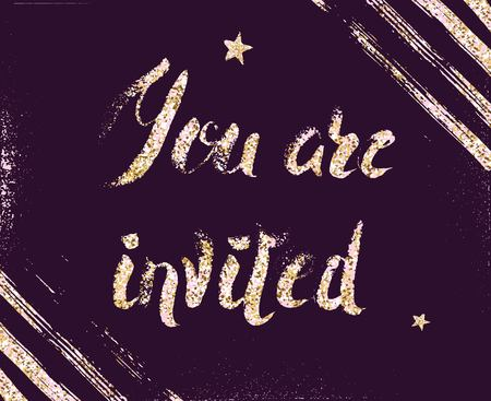 You are invited gold glittering lettering design with brush strokes and stars isolated on purple background. Vector illustration Illustration