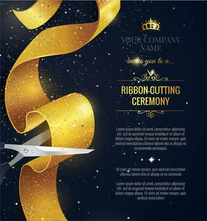 Grand opening vertical banner. Text with confetti and curving ribbon. Gold sparkles.  Elegant style. Vector Illustration Stock Illustratie