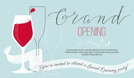 Cute invitation card You are invited to a ribbon-cutting ceremony. Grand opening concept, Vector illustration
