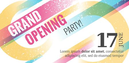 Grand opening horizontal banner. Abstract geometric  colorful background. Vector Illustration