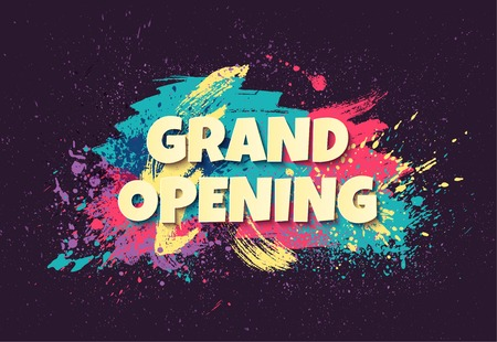 Grand opening horizontal banner with colorful paint splatters. Vector illustration
