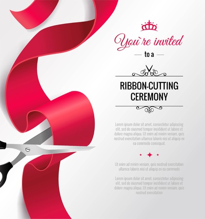 You are invited invitation card with curving ribbon and copy space. Grand opening concept. Vector illustration