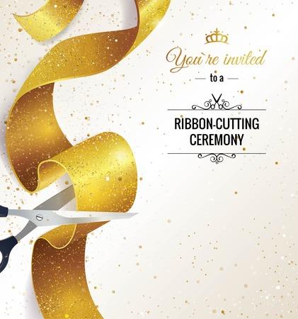 Grootse opening verticale banner. Tekst met confetti, gouden spatten en linten.Gouden schitteren. Elegante stijl. Vector illustratie