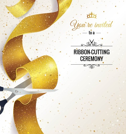 Vertikale Fahne der festlichen Eröffnung. Text mit Konfetti, goldenen Spritzer und Bänder. Gold funkelt. Eleganter Stil. Vektor-Illustration