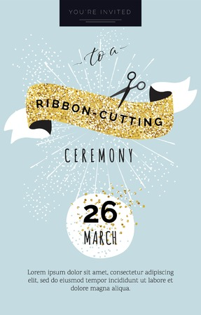 Cute invitation card You are invited to a ribbon-cutting ceremony. Vector illustration Illustration